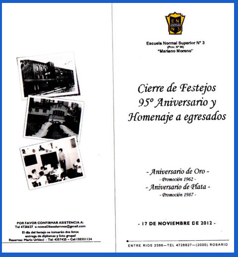 Tarjeta de invitación a los actos de celebración de la Escuela Normal Nacional Nº 3 Mariano Moreno de Rosario, Santa Fe, Argntina - Año 2012