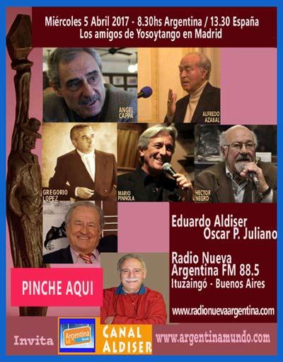 Programa especial de Yosoytango con su realizador, Eduardo Aldiser, en Radio Nueva Argentina FM 88.5 de Ituzaingó, Buenos Aires, Argentina