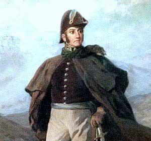 Cuadro que nos muestra al General José de San Martín durante el cruce de la Cordillera de los Anfes al frente del Ejercito Libertador