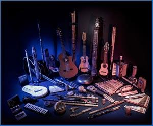 Instrumentos utilizados en el disco Babel Blue Dance por los músicos argentinos Alejandro Blasi y Diego Blanco más artistas invitados. Producción en Mallorca, España