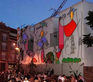 Mural del artista gráfico, pintor y escultor Justo Barboza, nacido en San Juan, Argentina