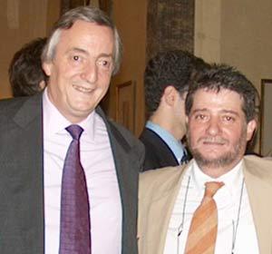 Lois Pérez Leira en Madrid, junto al presidente argentino en esos momentos, Néstor Kirchner