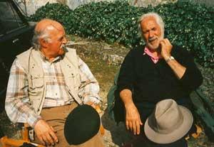 Encuentro y charla entre el periodista español Albino Mallo y el actor argentino Federico Luppi, año 1995, en Braga, Portugal