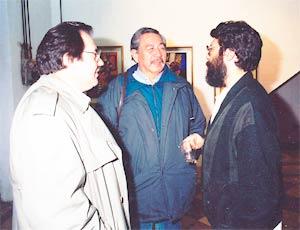 El pintor gallego Xavier Magalhaes junto a los pintores argentinos Rubén Borrín y René Morán