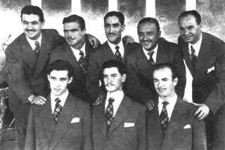 Foto de Montecarlo Jazz donde está, primero por la izquierda, sentado, el ahora famoso como Chico Novarro. Gentileza de Luis Beresovsky