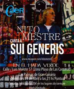 Nito Mestre en Canarias, miércoles 13 de abril 2011 en Las Palmas de Gran Canaria. Encuentro del cantautor argentino con su público