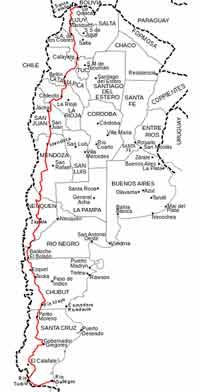 Mapa de la República Argentina. El trazo rojo corresponde a la Ruta Nacional 40