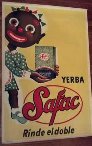 Anuncio de yarba mate Safac para colocar en puntos de venta, los clásicos almacenes y boliches de Argentina