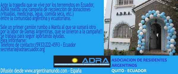 Con este anuncio destacamos en www.argentinamundo.com desde España, la labor realizada por ADRA Argentinos Residentes en Ecuador, con motivo del terremoto que asoló parte del territorio de ese país en Abril 2016