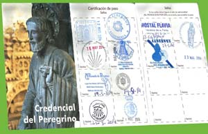 Credencial del Peregrino del locutor argentino Eduardo Aldiser certificando su recorrido desde Tuy, Pontevedra, hasta Compostela, A Coruña, Galicia, España