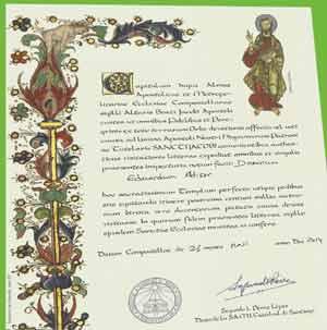 Diploma en latín que se entrega al peregrino en Santiago de Compostela, en este caso, de mayo 2014 expedido al locutor argentino Eduardo Aldiser