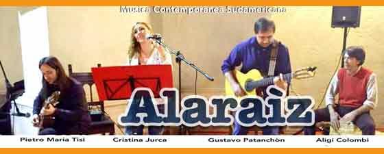 El conjunto de música contemporánea sudamericana Alaraiz, con el cantautor argentino Gustavo Patanchón, en Brescia, Italia