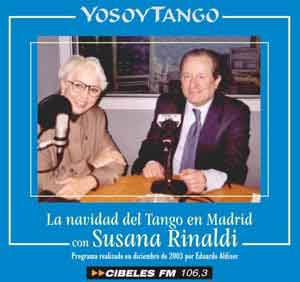 """Susana Rinaldi con Eduardo Aldiser durante la producción del programa de Yosoytango, en Cibeles FM de Madrid """"La Navidad del Tango con Susana Rinaldi"""", 2003"""