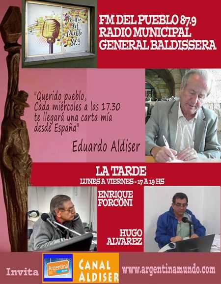 Las cartas de Eduardo Aldiser en FM 87.9 Radio del Pueblo de General Baldissera - Córdoba - Argentina