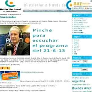 Promoción en El Mirador Nocturno, blog de Leonardo Liberman, del programa donde lo entrevistó, junto a Gustavo Ríos, en RAE Radio Argentina al Exterior, desde Buenos Aires, Argentina, 21-6-13 a las 20 hs