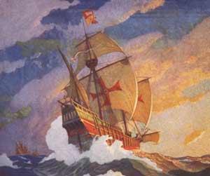 Las naves de Colón surcando el océano Atlántico, rumbo a las Americas