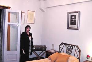 La cantante española Ángeles Ruibal, invitada especial que interpretó poemas musicalizados de Federico García Lorca, cuando se inauguró como museo en 2012 la habitación 704 del Hotel Castelar donde se hospedó