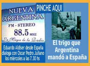 Charla de Eduardo Aldiser con Oscar Pedro Juliano, en Radio Nueva Argentina de Ituzaingó, Buenos Aires, donde comenta sobre la ayuda de Argentina a España tras la Guerra Civil, entre 1940 y parte de la década de 1960