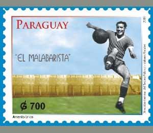 Sello filatélico de Paraguay recordando al gran jugador de fútbol de esa nacionalidad Arsenio Erico
