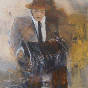 Cuadro del Tema Tango de la pintora argentina Elena Gatti, residente en la isla de Mallorca, Baleares, España