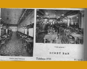 Vistas del interior del Café El Derby de Vigo, propiedad de Albino Mallo, donde se reunieron importantes personajes de la vida cultural, social y empresarial de las Rías Bajas, Galicia y España durante casi cinco décadas del Siglo XX