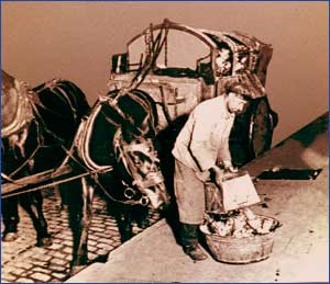 Un barrendero de Argentina recogiendo la basura que carga en un carro tirado por caballos