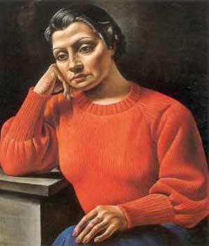 La mujer del sweater rojo, obra de Antonio Berni (1935) de la colección del MALBA de Buenos Aires, Argentina. No se expone en Madrid