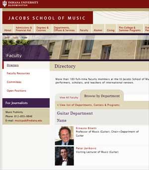 Página de la Web de la Universidad de Bloomington, de Indiana, EEUU, donde se expone sobre la cátedra de guitarra de la institución, creada y dirigida por Ernesto Bitetti