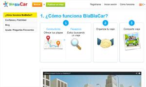 Sección del portal www.blablacar.es donde se explica la modalidad del viaje compartido en automóvil entre ciudades españolas