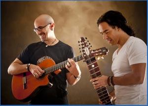 Alejandro Blasi y Diego Blanco, integrantes de Babel, durante la grabación de su nuevo disco Blue Dance producido en Mallorca. Ambos son de Buenos Aires, Argentina