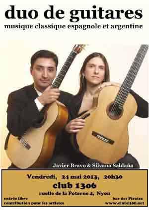 Cartel de una presentación en Francia del dúo argentino de guitarras Bravo Saldaña