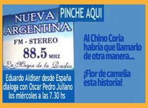 Capítulo de Eduardo Aldise4r en Radio Nueva Argentina de Ituzaingó, dialogando con Oscar Pedro Juliano sobre la historia de los Coria y las Camelias
