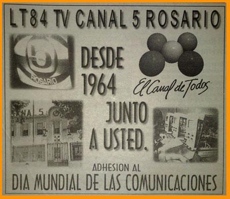 Anuncio de los 60 del Canal 5 de Rosario, con sus estudios a orillas del Río Paraná, junto al Monumento Nacional de la Bandeta, en Rosario, Argentina