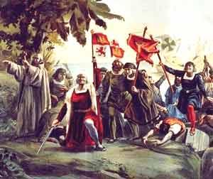 Óleo que revive la llegada de Cristóbal Colón y sus expedicionarios, patrocinados por el Reino de Castilla, a América, 12 de octubre de 1492