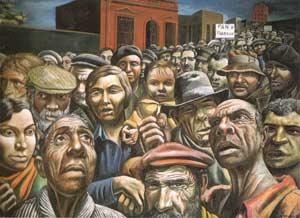 Manifestación (1934), temple sobre arpillera, 180 x 249,5 cm. Cuadro de Antonio Berni, pintor argentino, que pertenece a la colección del MALBA (Museo de Arte Latinoamericano de Buenos Aires). No se expone en Madrid