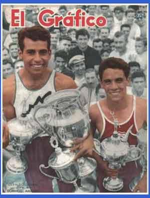 Una de las tapas (portadas) que le dedicó la prestigiosa revista deportiva El Gráfico de Argentina al atleta cordobés Domingo Amaison
