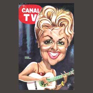 """Portada de la revista de televisión de Argentina """"Canal TV"""" con la imagen de Edith Scandro caricaturizada."""