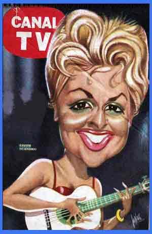 Portada de la revista argentina Canal TV con una caricatura de Edith Scandro - La linda que canta lindo