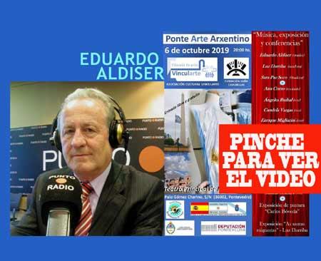 El locutor argentino Eduardo Aldiser, que vive en Pontevedra, se sumó al Ponte Arte Arxentino del Teatro Principal