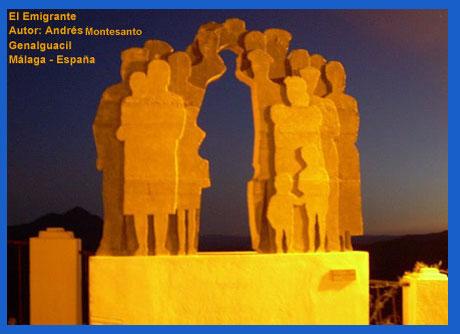 El emigrante, obra escultórica del argentino Andrés Montesanto emplazada en la localidad malagueña de Genalguacil, en España