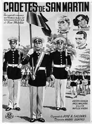 Cartel de la película Cadetes de San Martín que cuenta entre sus protagonistas con el actor gallego, con toda su carrera en Argentina, Enrique Muiño