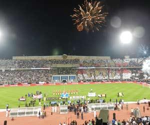 Una noche de fiesta del fútbol en El Cairo, Egipto. Celebrando el centenario del Zamalek SC, partido con el Atlético de Madrid. Lo organizó un argentino, Guillermo Strazza