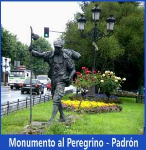 Monumento al Peregrino, en Padrón, salida hacia Compostela... en la dirección en que caminamos cuando vamos hacia la catedral de Santiago Apóstol