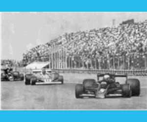 La Fórmula Uno corriéndose en el Autódromo de la Ciudad de Buenos Aires, Argentina, en la época de Carlos Alberto Reutemann