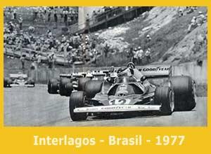 El Lole Reutemann con Ferrari en el Gran Premio de Brasil, 1977, circuito de Interlagos, Brasil