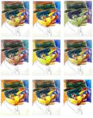Carlos Gardel en una obra de Justo Barboza, pintor argentino nacido en San Juan y residente desde hace décadas en Madrid, España