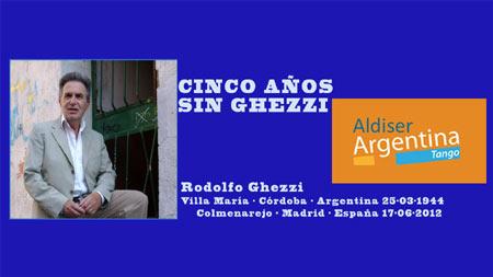 Cartel con el que Argentina Tango y el Canal Aldiser han homenajeado a Rodolfo Ghezzi el 17 de junio de 2017