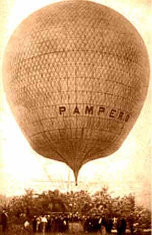 """""""El Pampero"""", famoso globo aerostático de vida efímera y recuerdo largo, en las charlas con mate de las tardecitas porteñas"""