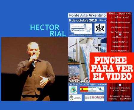 Héctor Rial, cantor de tango, más Karina More y Luis Monasterios, aportaron un tango bien arrabalero al Ponte Arte Arxentino