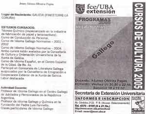 Programa del curso de gallego que impartía en Buenos Aires, Argentina, Jesús Alonso Olveira